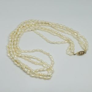 Vintage 3 Strand Rice Pearl 14k GF Necklace